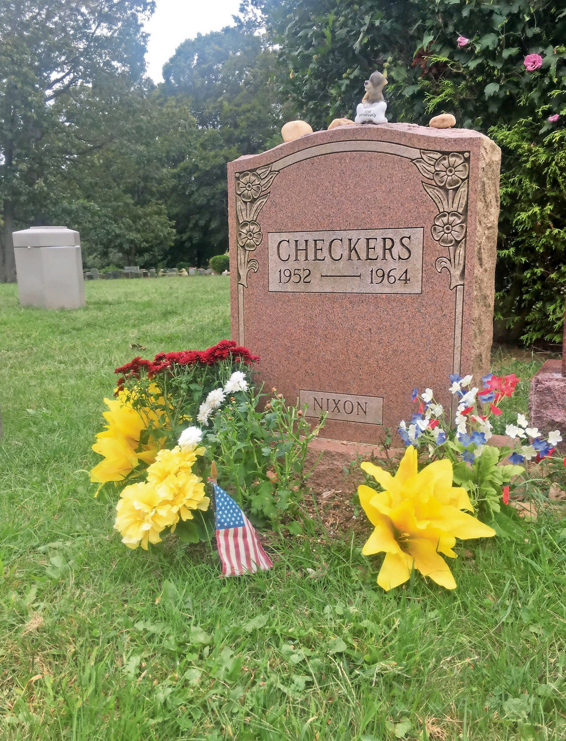 The Bideawee grave of Checkers, former president Richard Nixon's dog, whose alleged status as an illegal gift nearly sank the young politician's career in 1952.