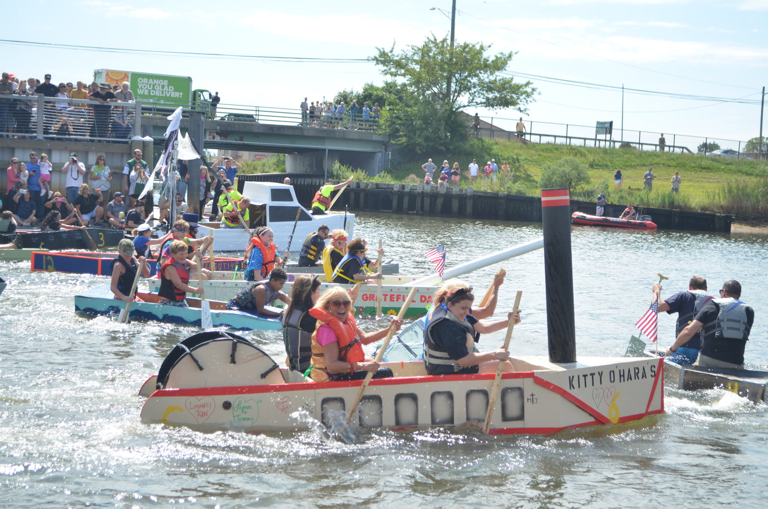 Hundreds of people turned out last Sunday for the 21st annual Cardboard Boat Race at Milburn Creek.