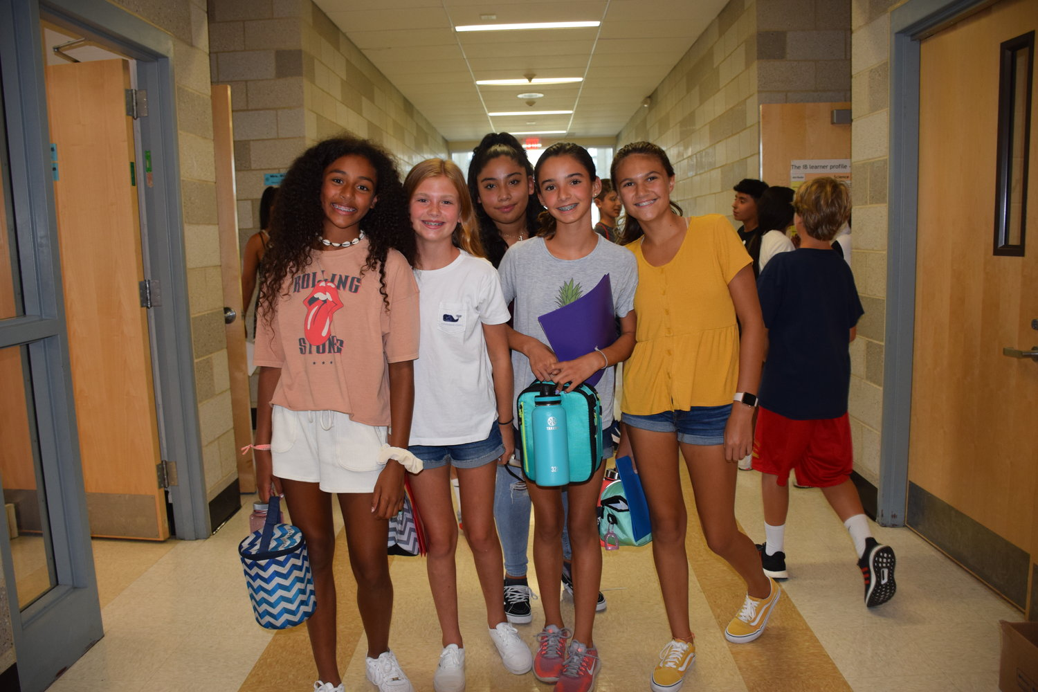 Long Beach Middle school students found their friends as they prepared to go to lunch.