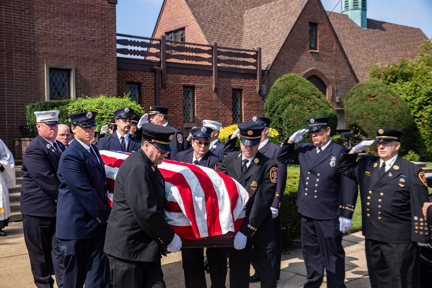 Valley Stream Firefighters gathered on Sept. 3 for Walter Weltner's funeral, held at his beloved church -- the Lutheran Church of Our Savior in Valley Stream.