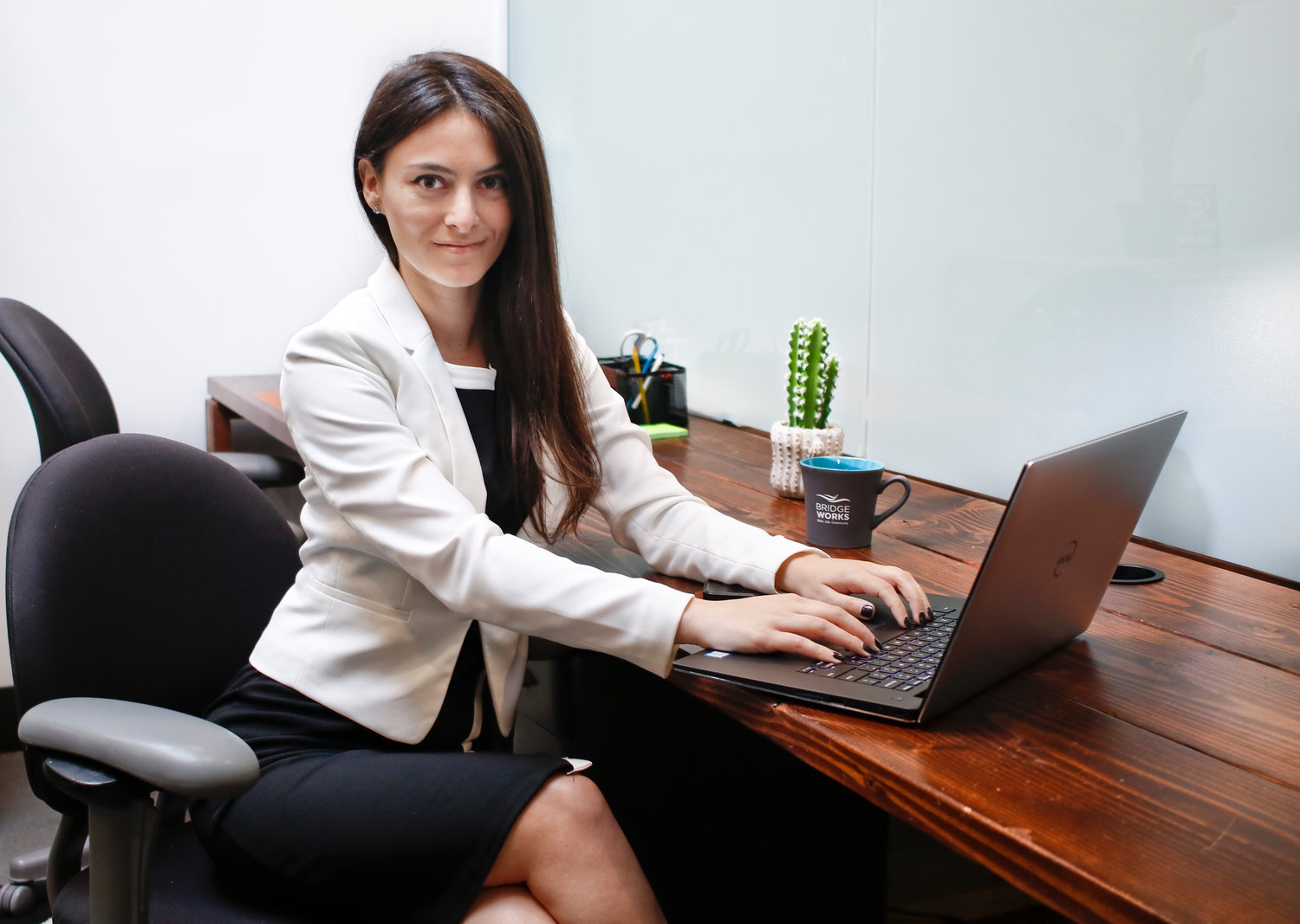 Brittney Borruso runs her one-woman law firm out of Bridgeworks on Long Beach Boulevard.