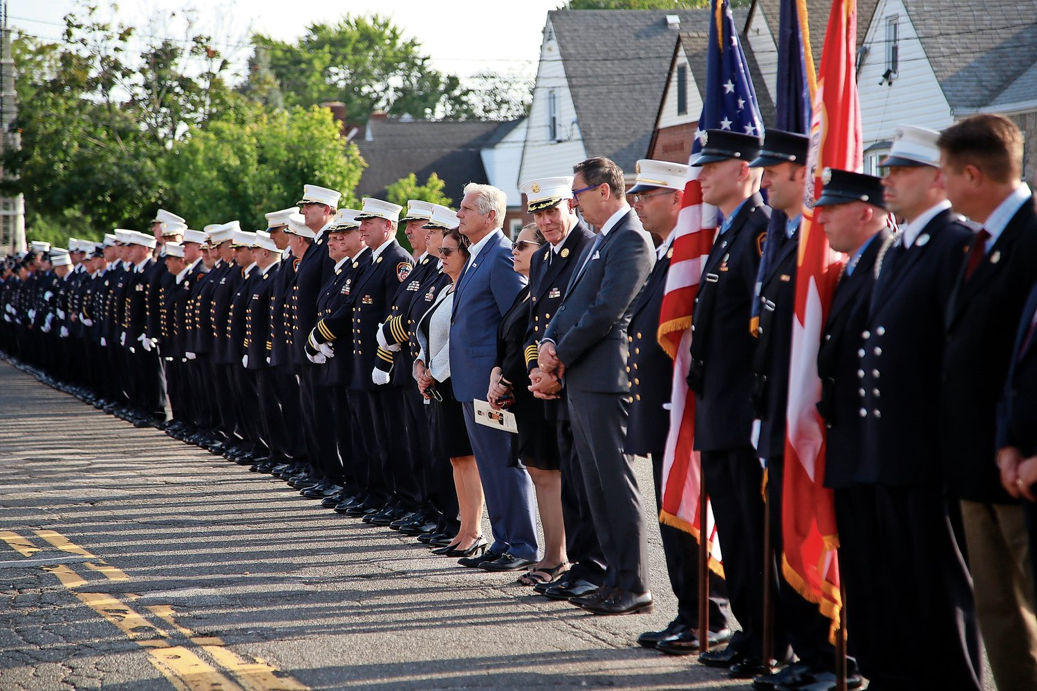 FDNY firefighters and elected officials gathered outside Krauss Funeral Home on Sept. 10 to pay their respects to Michael Haub.