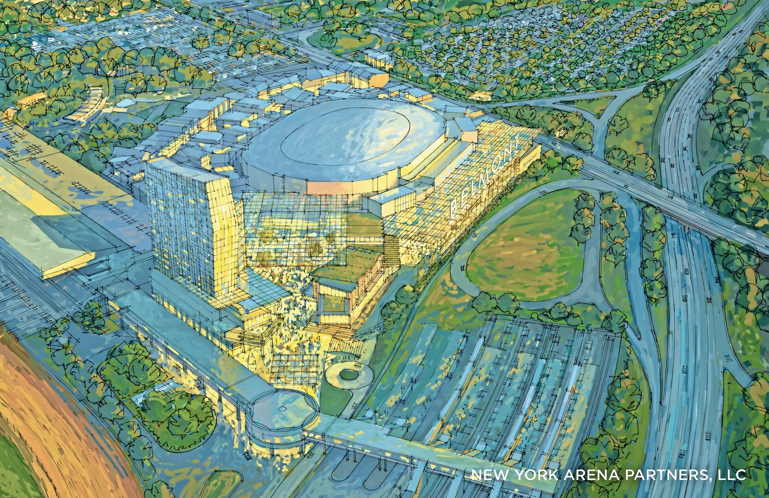 The Belmont Park project includes a 19,000-seat arena for the New York Islanders hockey team, a 250-room hotel, a community center, commercial office space and 350,000 square feet of retail space.