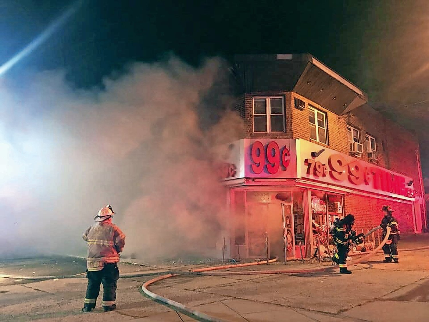 A fire broke out at 99 Cent Time in Elmont on Sept. 14.