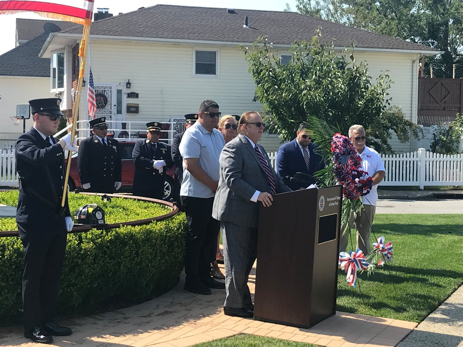 The Village of Island Park hosted a 9/11 memorial ceremony on the 18th anniversary of the attacks at the memorial on Long Beach and Parma roads. Mayor Michael McGinty addressed attendees.
