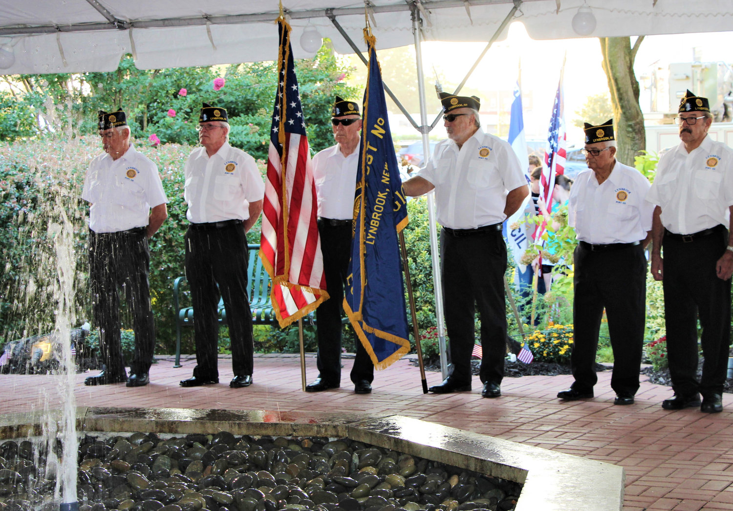 Lynbrook American Legion Post 335 presented the colors at the 9/11 Memorial Garden near Village Hall.