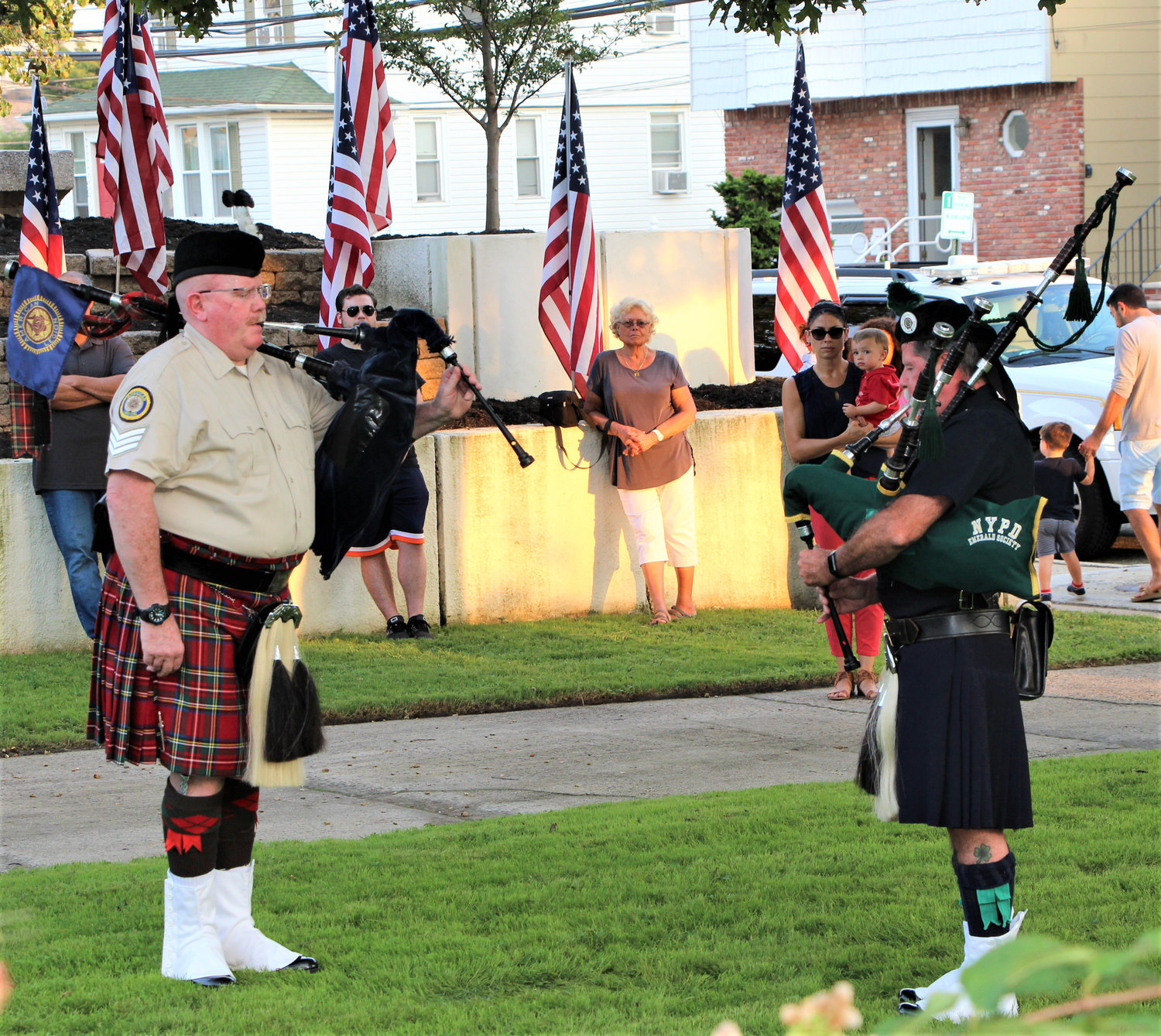 "Mac na hÉireann Pipes and Drums performed ""Amazing Grace"" at the end of the Lynbrook ceremony."