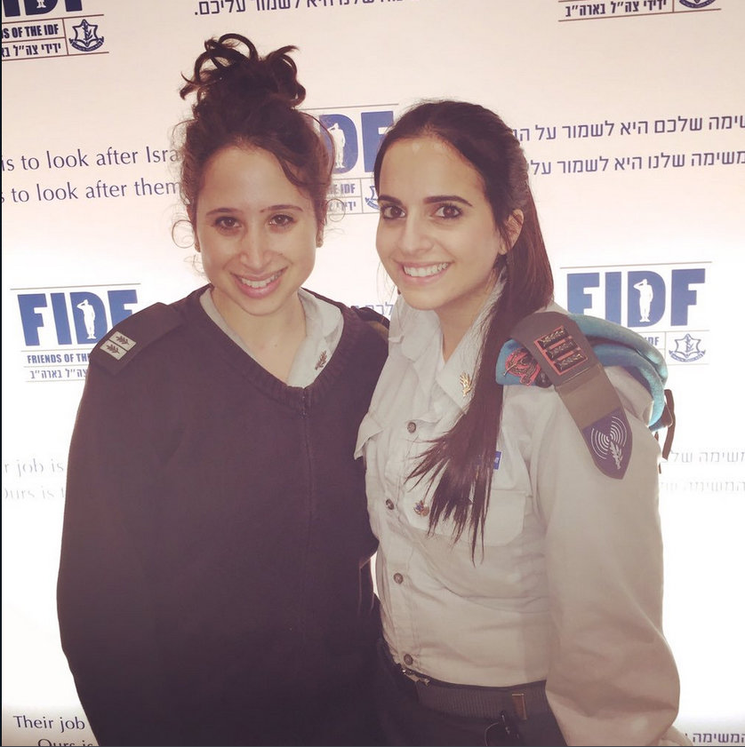 Israel Defense Forces Capt. Libby Weiss (res.), left, will be the guest speaker at the first-ever South Shore UJA-Federation dinner. At right is IDF Major Keren Hajioff.