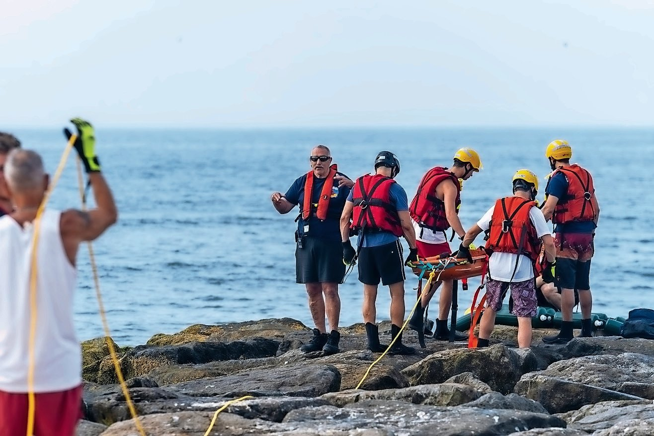 Atlantic Beach Rescue's Water Team took part in jetty drills on June 29.