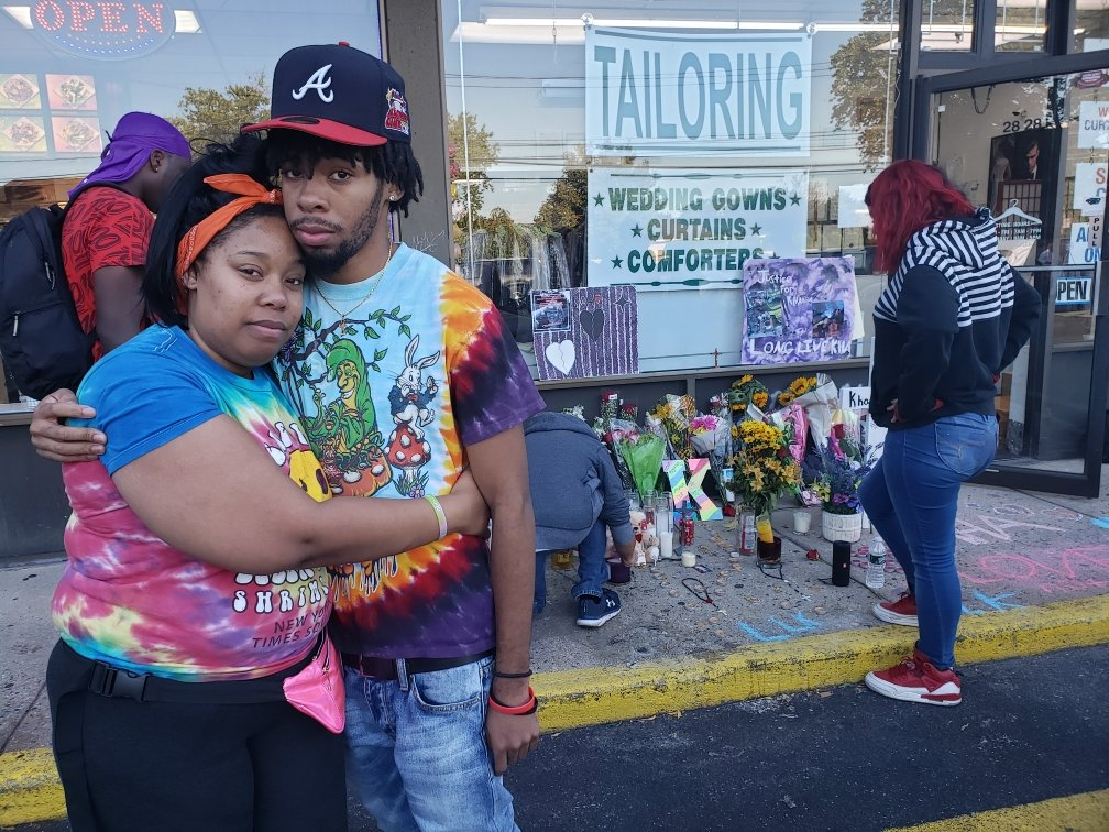 Kahseen Morris's brother and sister, Keyanna, 30, and Khaleem Morris, 19, outside a memorial for Kahseen.