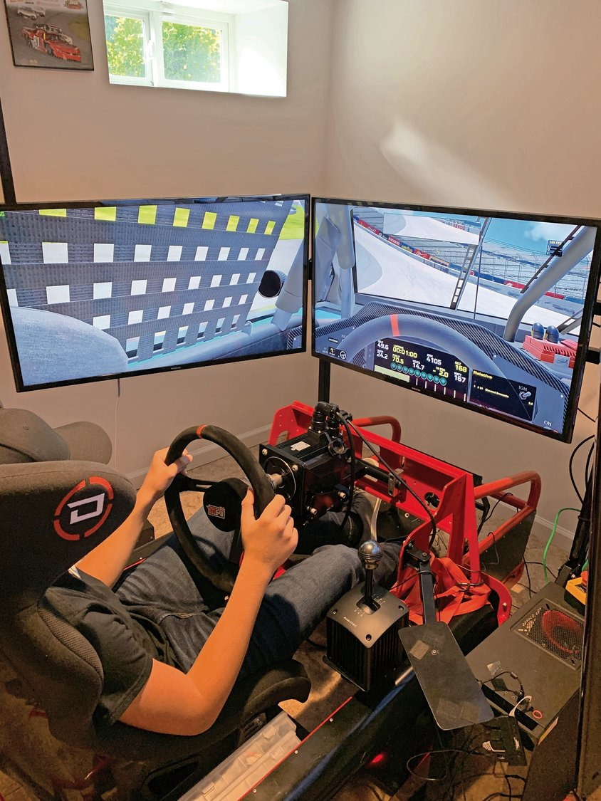 Bromante spends a lot of time practicing on his NASCAR simulator.
