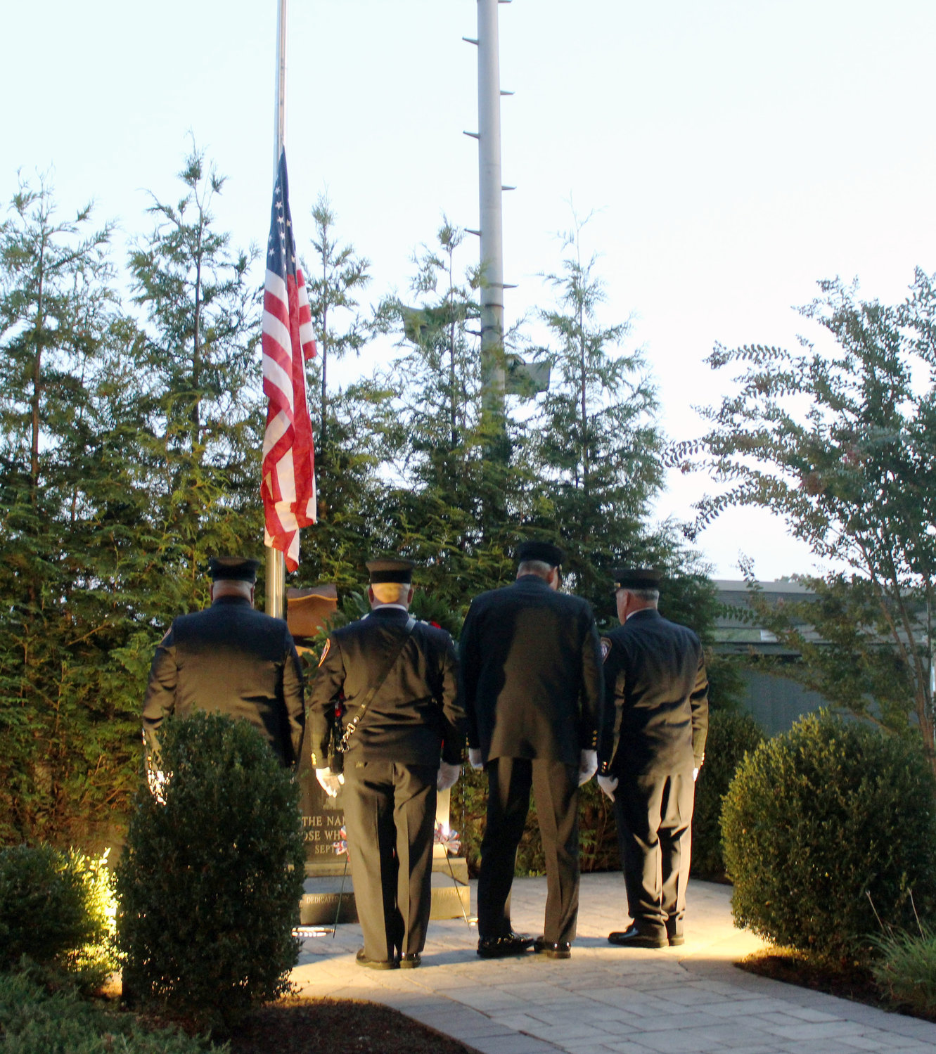 EMFD volunteers placed a wreath in front of the memorial, which was erected by the Kiwanis Club in 2014.