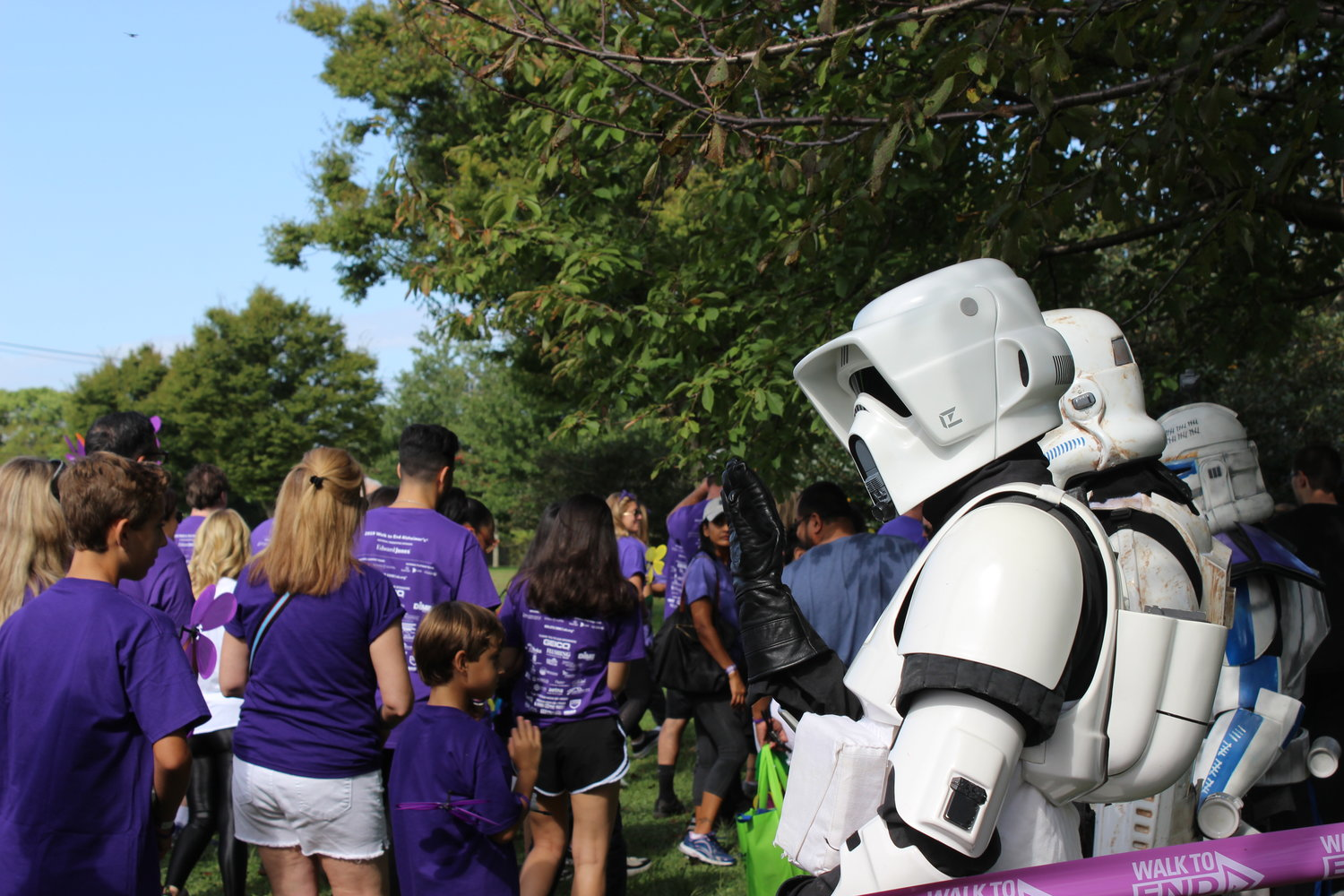 Mascots from the film franchise Star Wars greeted participants as they embarked on the 2.5-mile walk.
