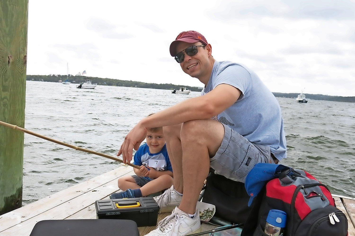 Jim Causarano brought his son Dominic to the end of the dock to fish.