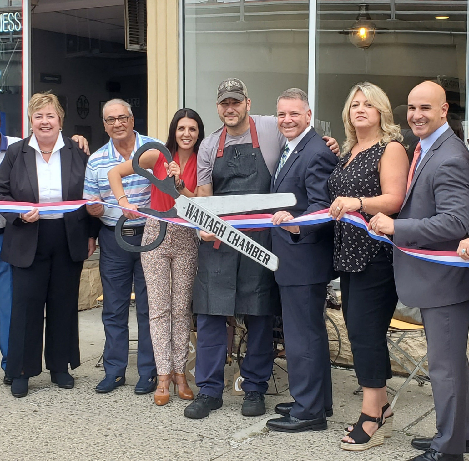 Little Kitchen owners Carlo Stanisci and Lina DeFalco were joined by Assistant Town Clerk Kate Murray and State Legislator Steve Rhoads during the Wantagh Chamber of Commerce ribbon cutting.