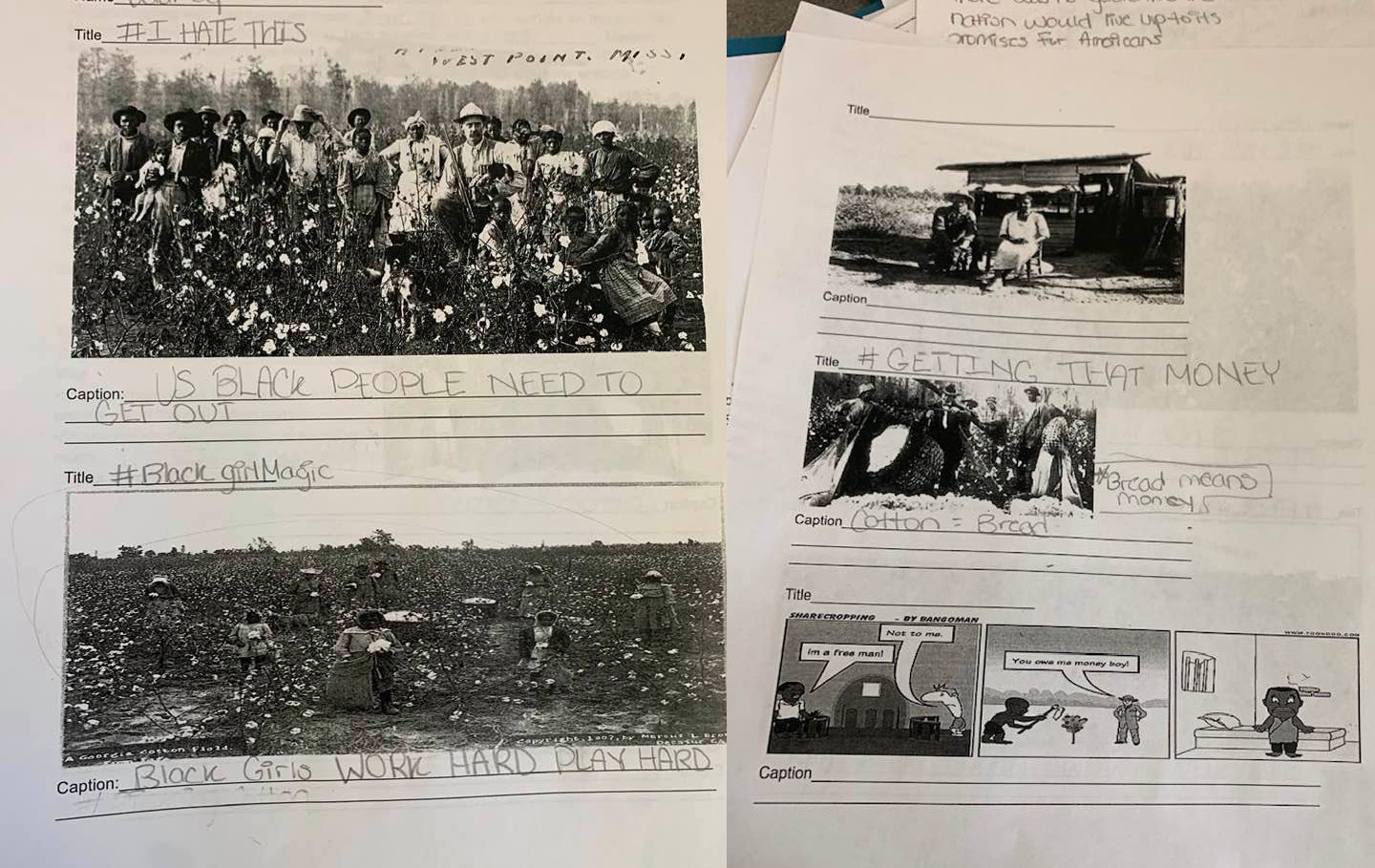 "A Freeport middle school teacher is out of the classroom and under investigation for an assignment that asked students to write ""funny"" captions under pictures of former slaves."