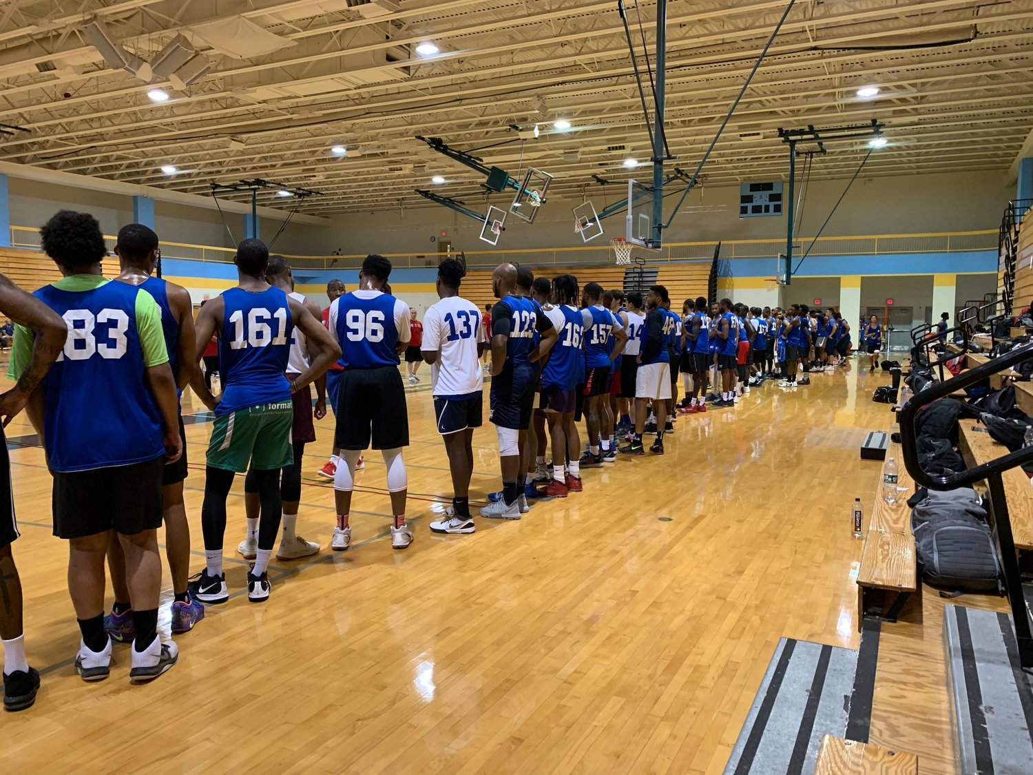 120 players including Michael Lugo lineup at the annual Long Island Nets open tryout.