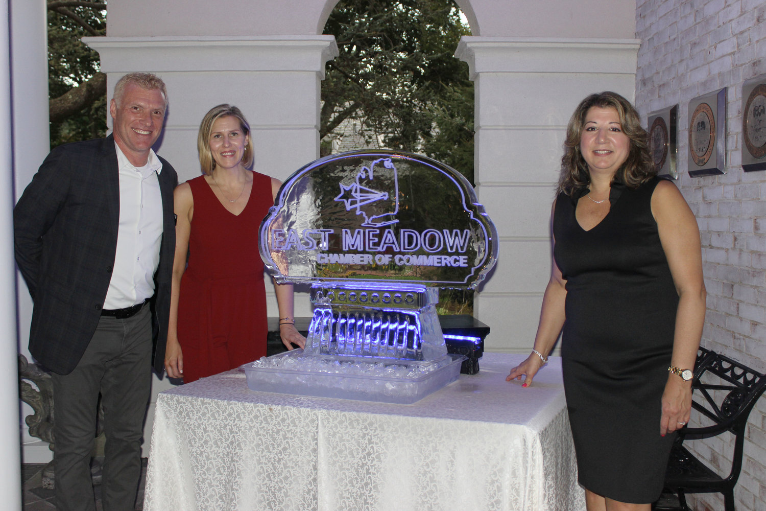 For the fifth year, Lyndsey Gallagher, second from left, and Rosemary Basmajian co-chaired the largest fundraiser for the East Meadow Chamber of Commerce. Michael Levy, the chamber's president, helped them welcome guests to Culinary Delights at the Carltun in East Meadow's Eisenhower Park.