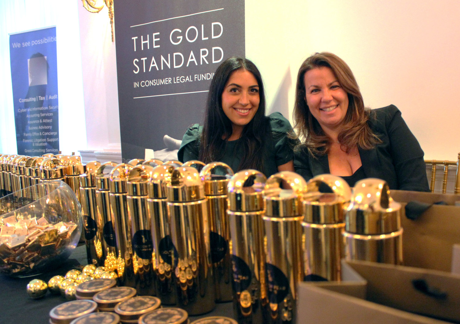 Samantha DeVictoria and Samantha Frankel, sales managers at Golden Pear Funding, greeted honorees and guests at a networking and cocktail party.