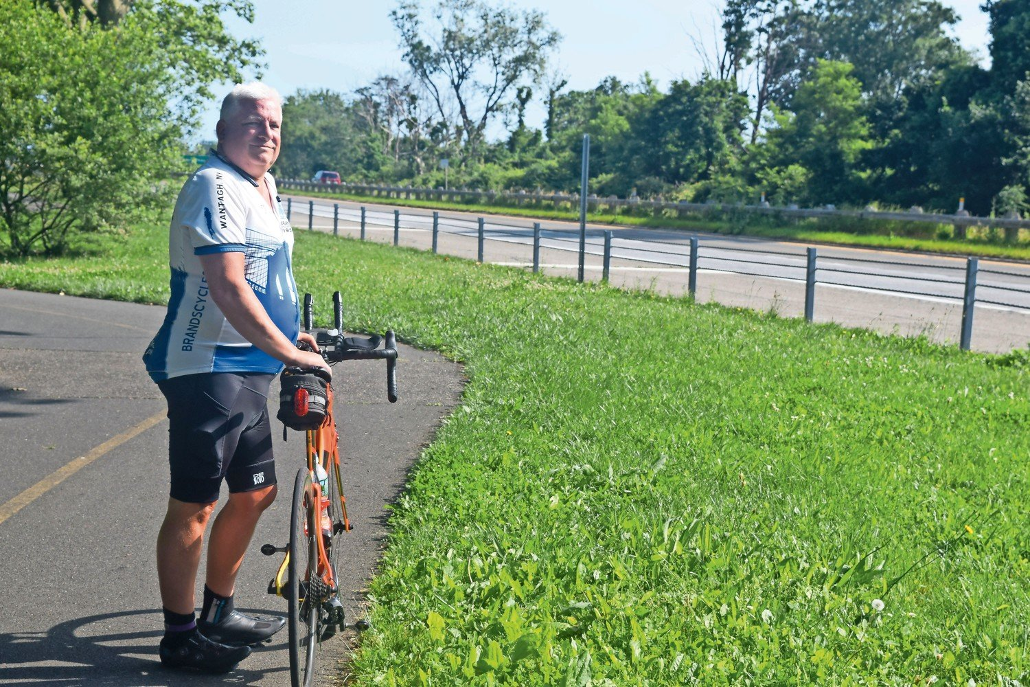 Phil Kingsbury, of Wantagh, in 2017 on the Wantagh Parkway mixed-use path that leads to the Ocean Parkway Greenway. On Tuesday, Governor Cuomo announced a 10-mile, $16.2 million extension of the greenway.
