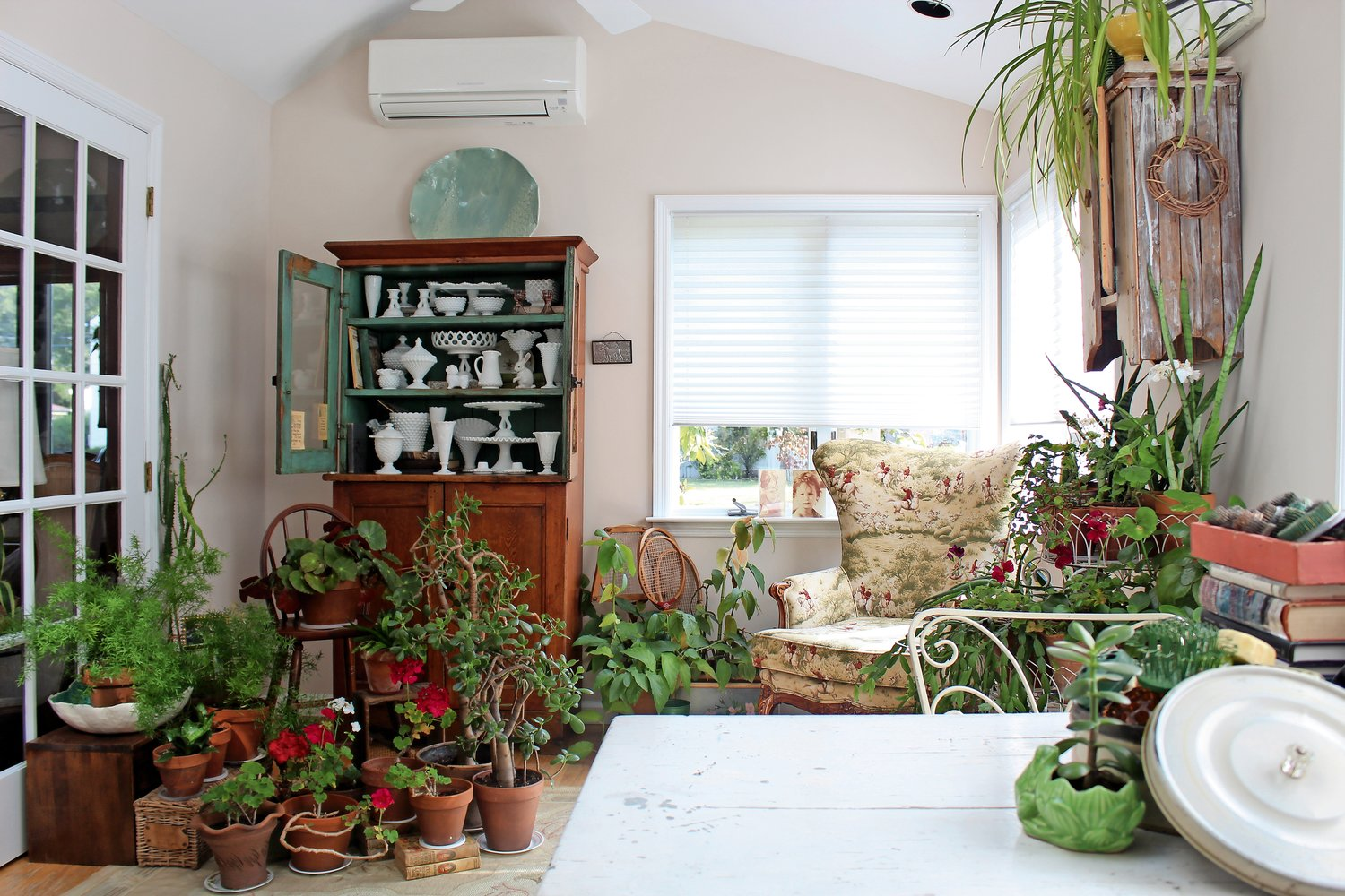 "The sunroom of the Bammaritos' home features an assortment of potted plants, antique furniture and an impressive collection of mystery books such as ""Nancy Drew"" and ""The Hardy Boys."""