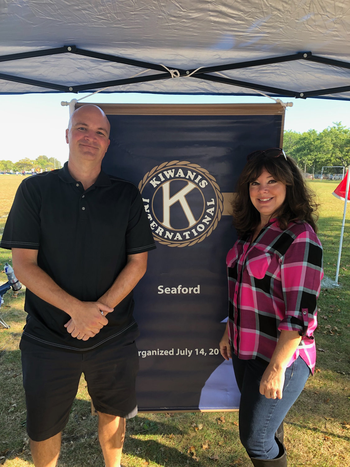 Seaford Kiwanis Food Drive Coordinator Donna Jebailey and Christopher Carini, a candidate for the 5th Councilmanic District seat, ran the community food drive from 10 a.m. to 3 p.m.