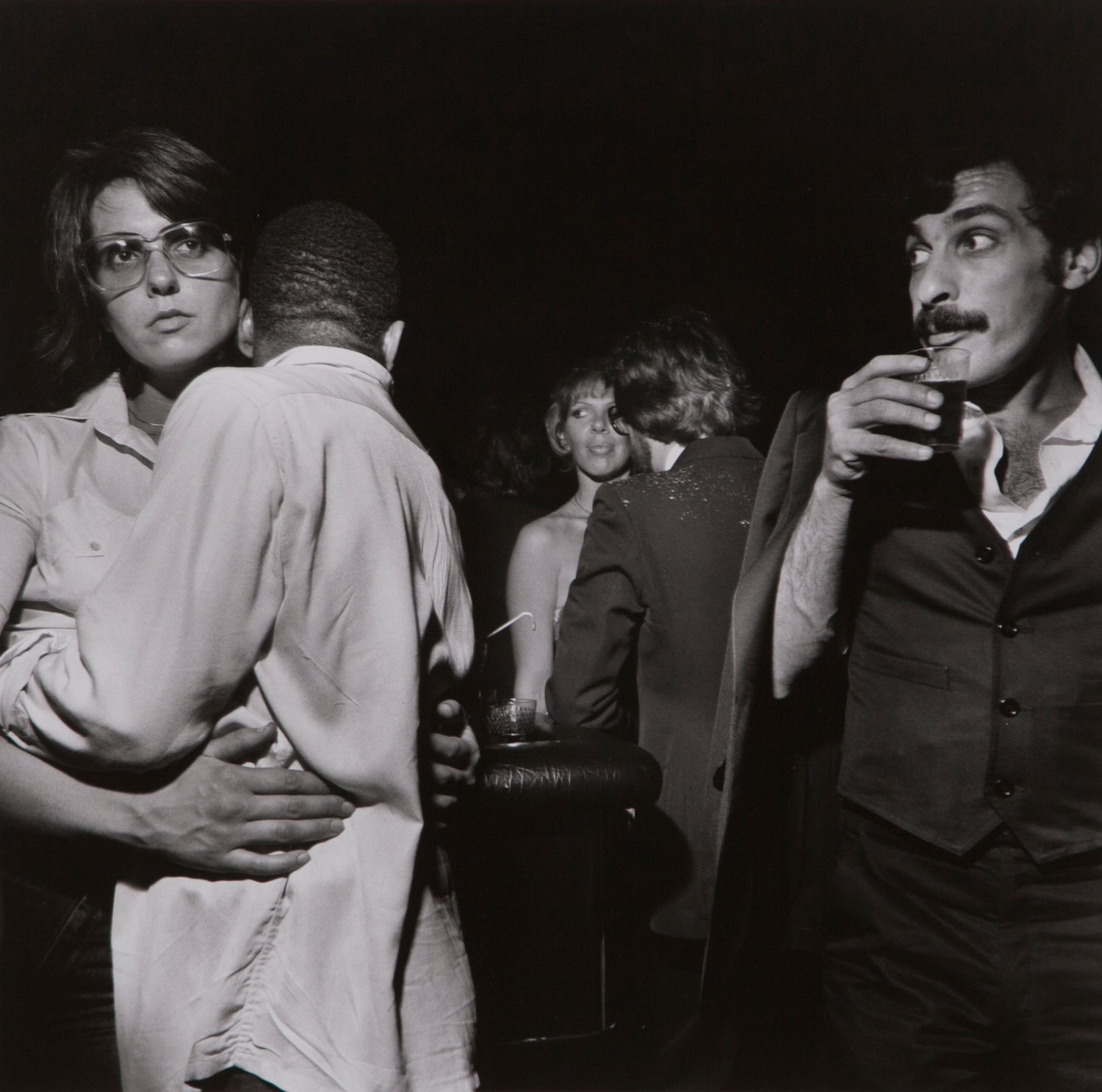 Larry Fink (American, born 1941), False Men and their Makers, Studio 54, N.Y.C. – May, 1977, from the portfolio Social Context, 1977, Gelatin silver print on Fortezo paper, 14 ¼ x 14 ½ in.; Hofstra University Museum of Art, gift of Susan and Steven Ball, HU92.68.14 © 2019 Larry Fink