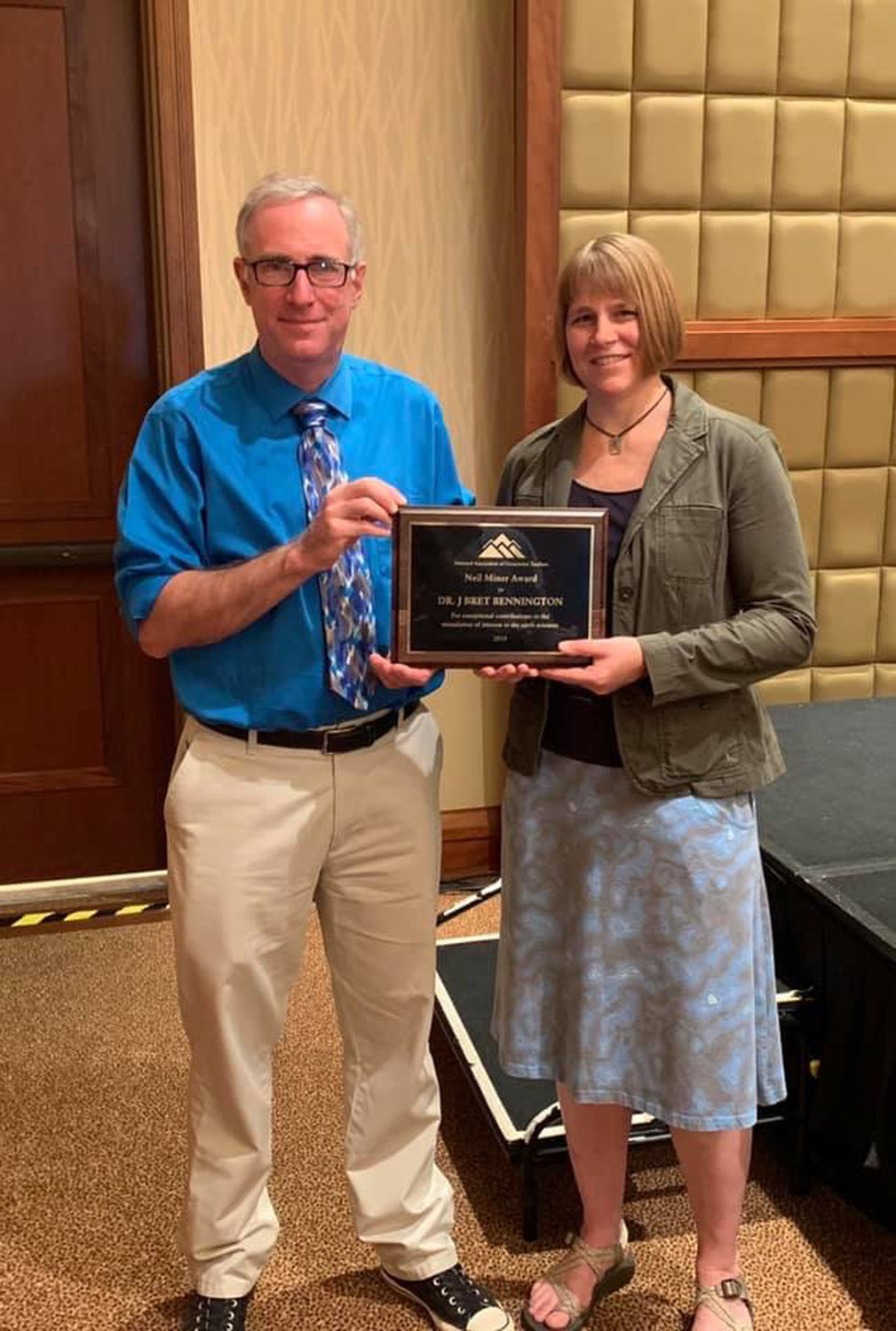 Dr. Bret Bennington with Fellow Hofstra Professor Dr. Christa Farmer, who nominated him for the Neil Miner award.