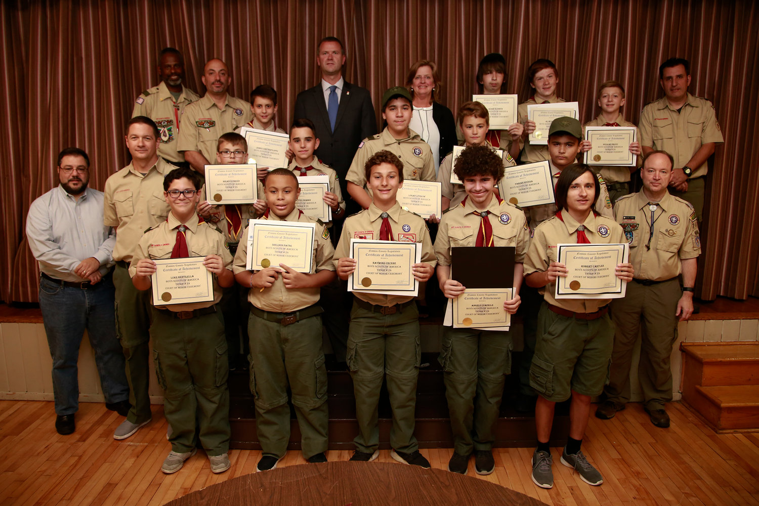 Boy Scout Troop 24 members received citations during its Court of Honor ceremony at Our Lady of Lourdes Church.
