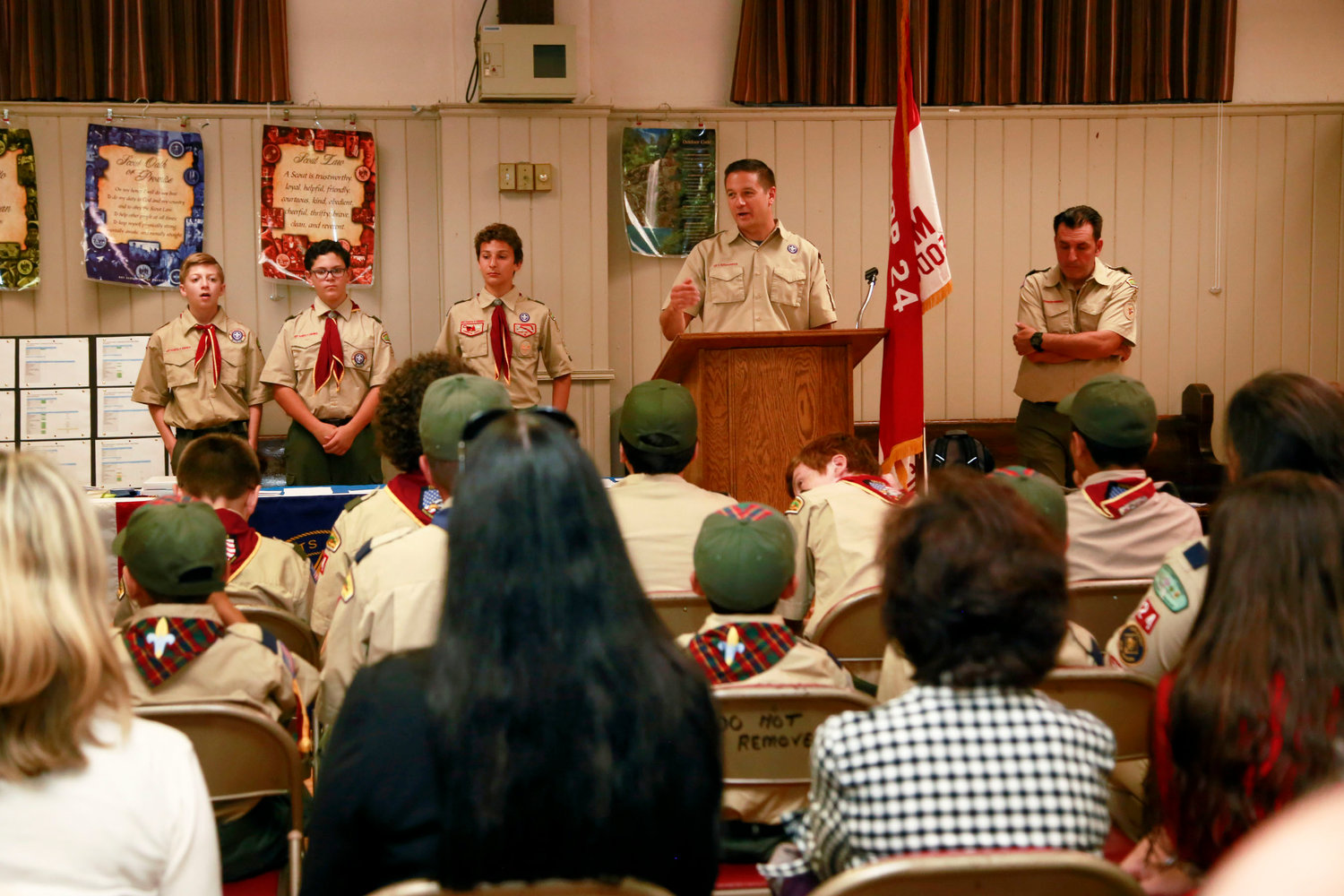 Scout leader Carl Prizzi spoke to scouts and their families.