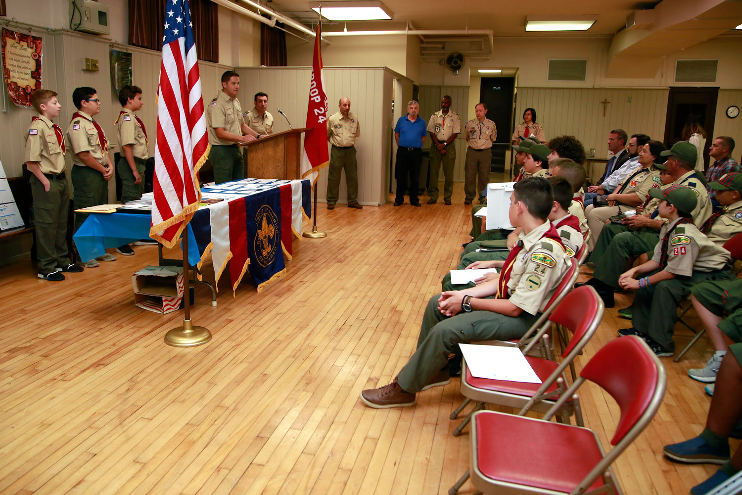 Each Boy Scout was recognized for their community service.