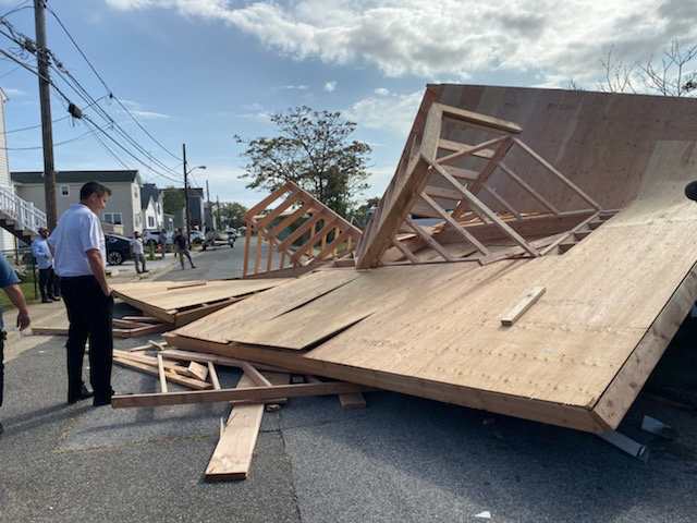 A Sportsman Avenue house collapsed Monday, officials said, because of strong winds.
