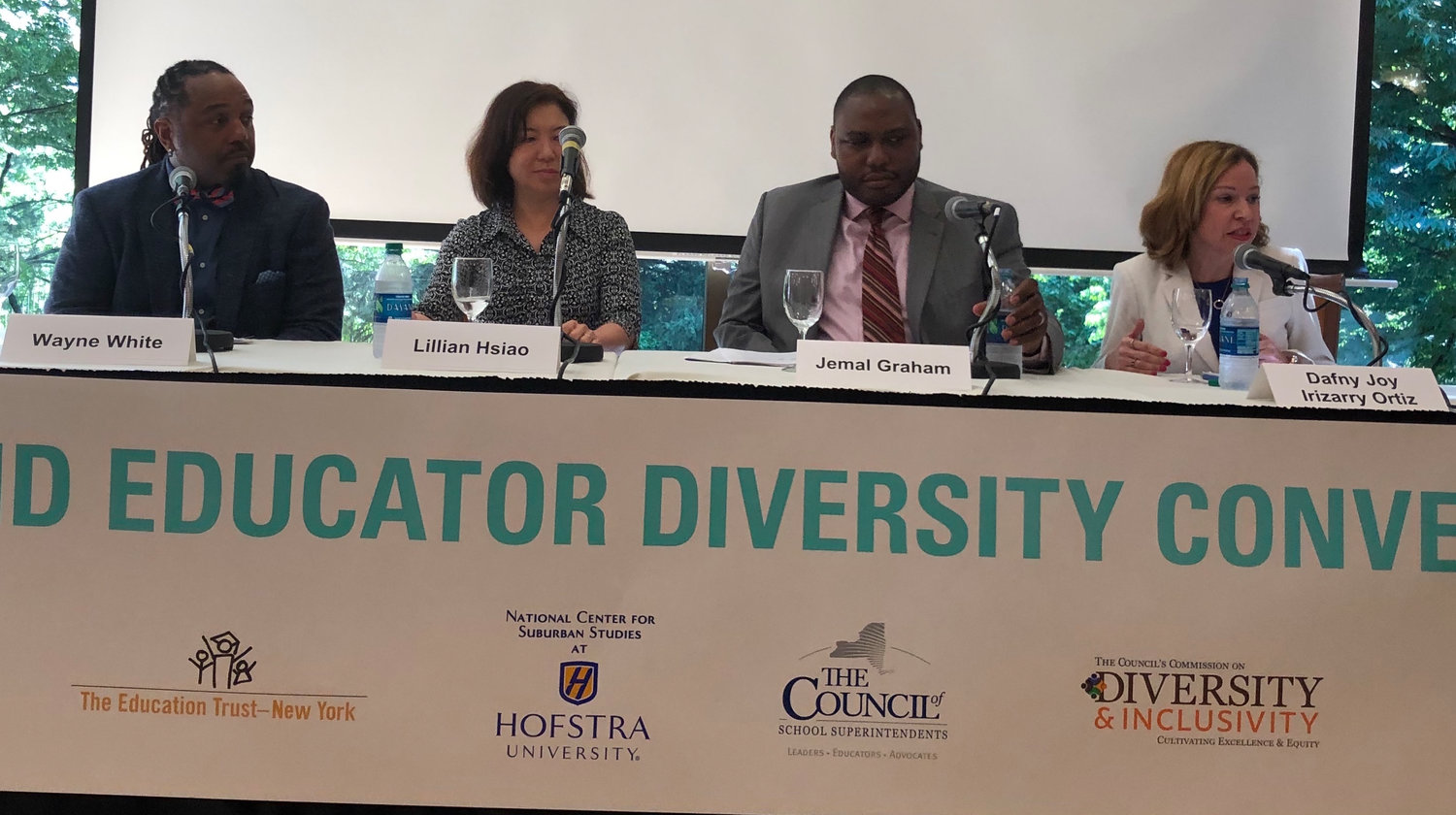 The lack of diversity in Long Island's teaching ranks was the subject of extensive discussion at the Long Island Educator Diversity Convening at Hofstra University last spring. Among the panelists were, from left, Wayne White, president of the Bellport Teachers Association; Lillian Hsiao, an English as a New Language teacher in the Great Neck School District; Jemal Graham, assistant principal at H.B. Thompson Middle School in the Syosset district; and Dafny Joy Irizarry Ortiz, an ENL teacher in the Central Islip district.