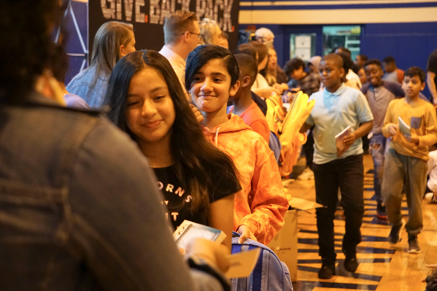 Students at Shaw Avenue Elementary School in Valley Stream received book bags, socks and elementary-aged books on Oct. 3 courtesy a partnership between State Sen. Todd Kaminsky and STATE Bags, an online book bag shop that holds charity donation events.