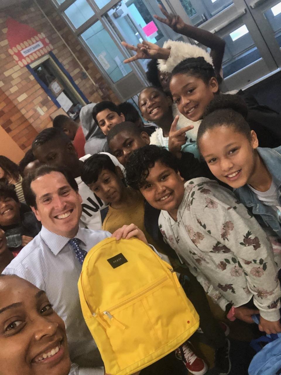 State Sen. Todd Kaminsky helped spearhead the effort to supply every student at Shaw Avenue with backpacks.