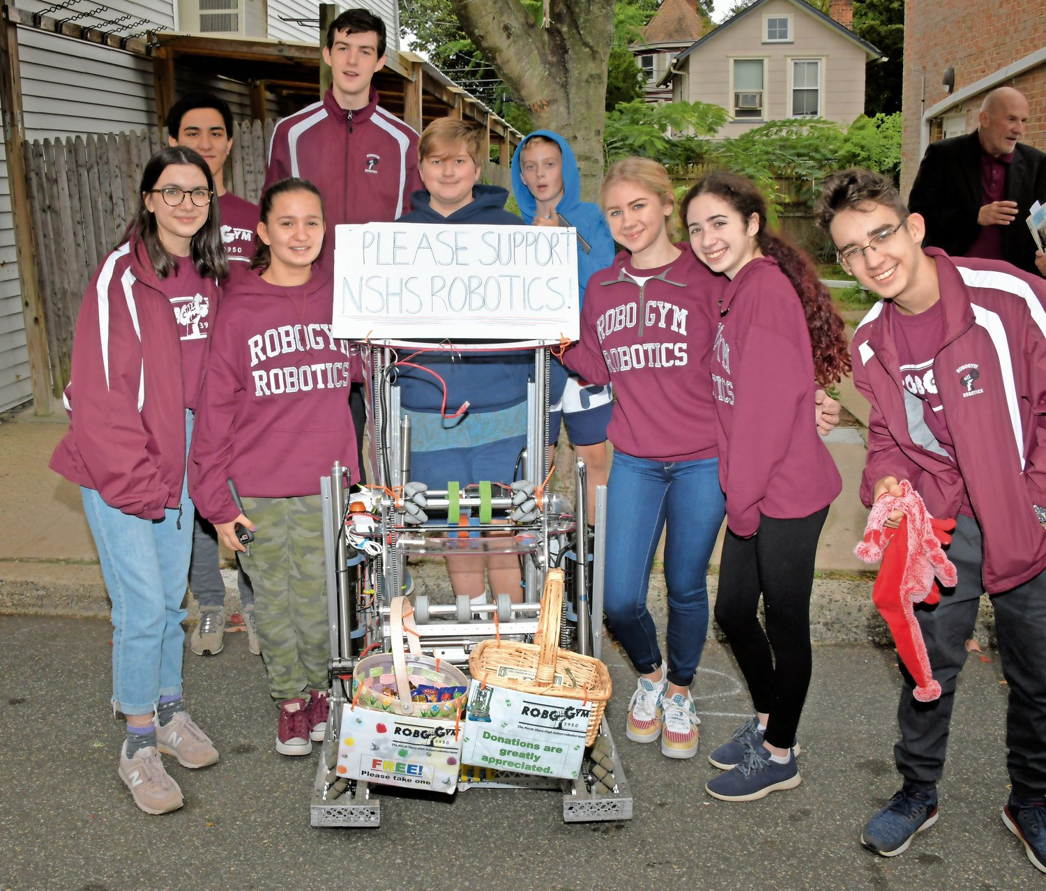 The North Shore High School Robotics Club gave a demonstration of its newest creation.