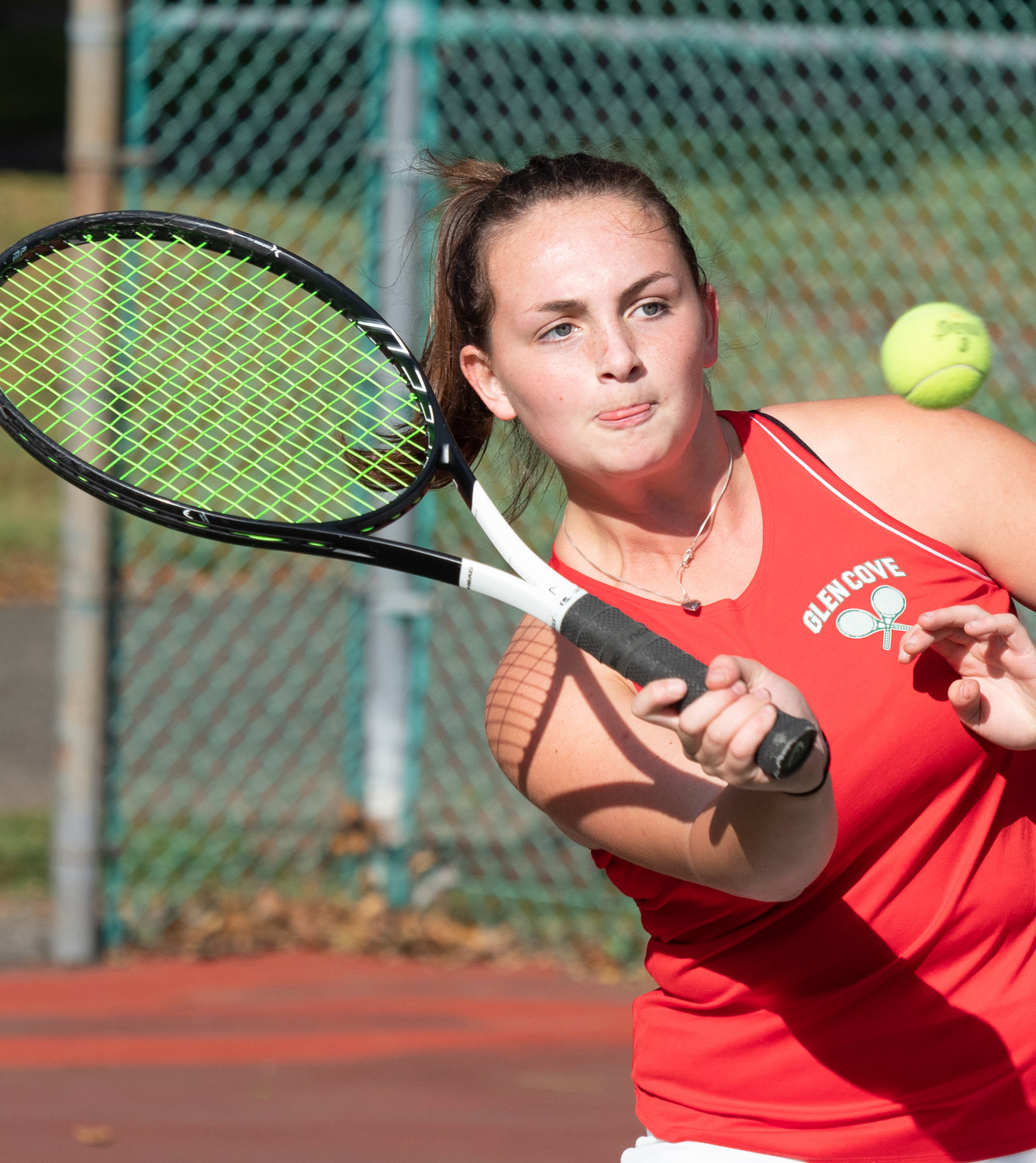 Axelle LaBaw holds down the No. 1 singles spot for Glen Cove, which at 9-1 trails only Clarke in the Nassau Conference III-A standings.
