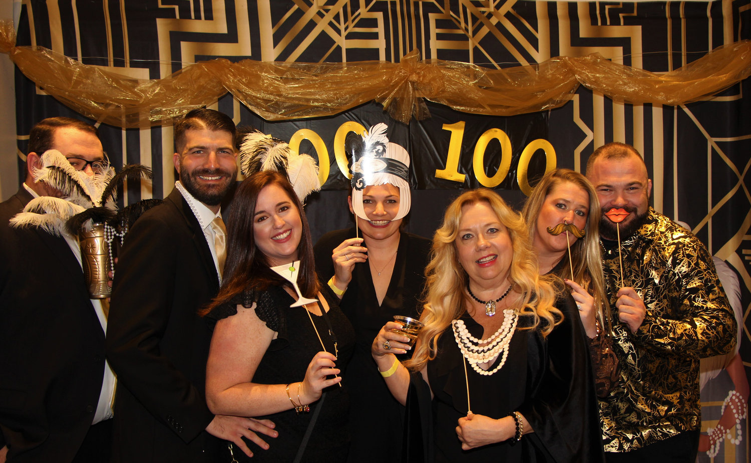 The Baldwin Public Library celebrated its 100th anniversary with a Centennial Gala last Saturday, where, from left,  Mike Randell, Jim and Leigh LaPorta, Devon Kelly, Madeline Atkin, Tara Mahoney and Ryan Kelly joined the fun.
