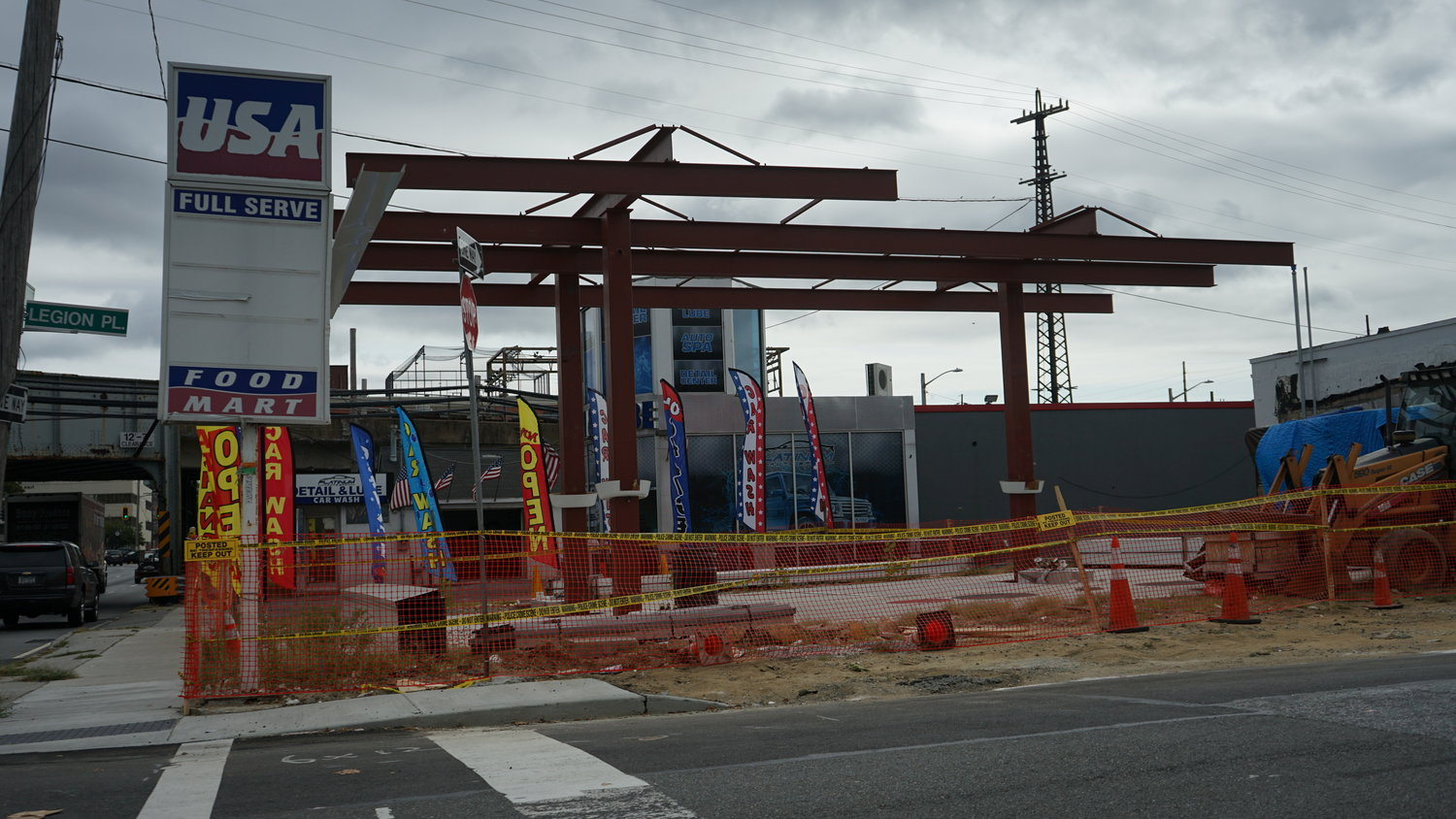The village may have wrongly issued a building permit for a gas station on Sunrise Highway. The permit was subsequently revoked, leaving construction half finished.