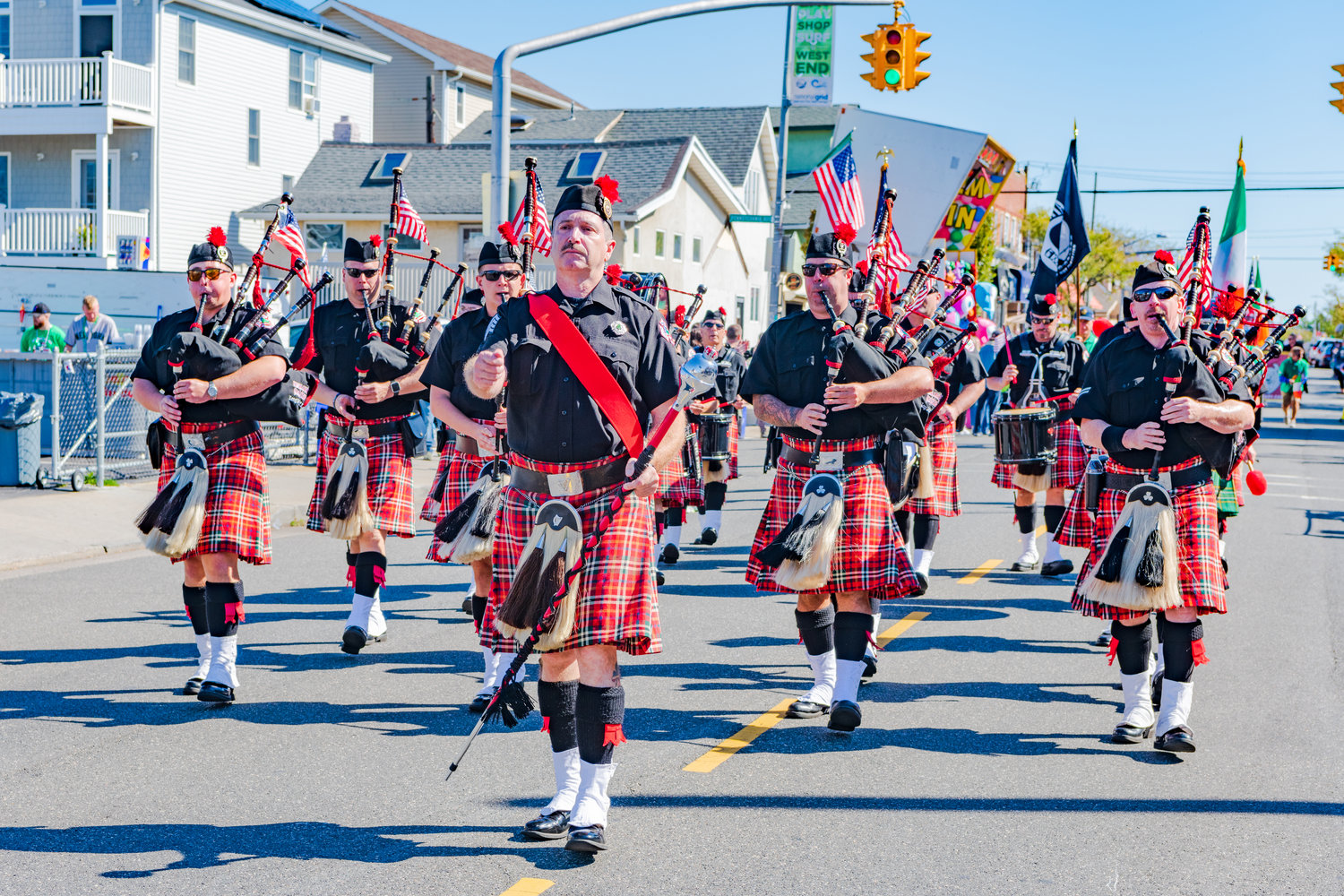 The Nassau County Fire Department Pipes and Drums were among the many organizations that marched in the parade.