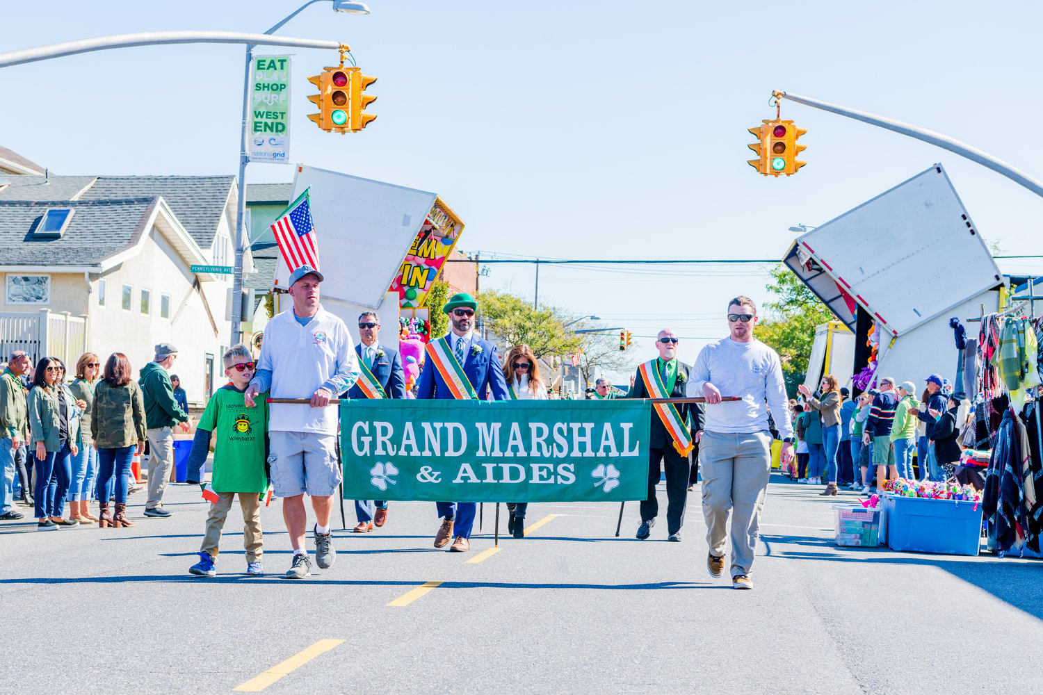 Irish Day parade Grand Marshal Seanie Monaghan, center, marched with the grand marshal aides.
