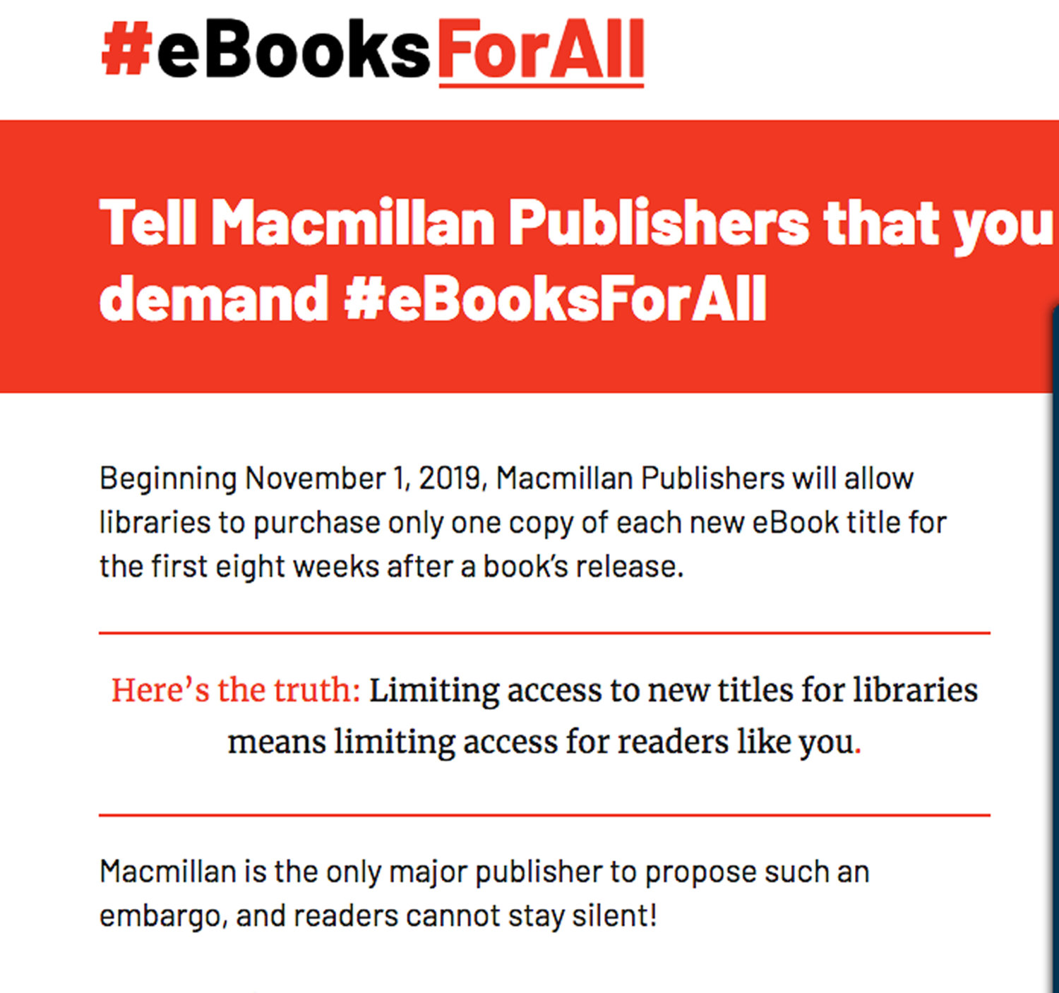 Macmillan Publishers announced a limit on eBook sales to all public libraries effective Nov. 1.