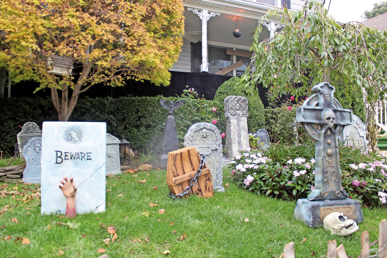 Allocco set up a fake graveyard on his front lawn in preparation for this year's Franklin Square Horror.