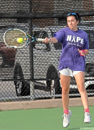 Hallie Neufeld, who plays No. 1 doubles along with Izzy Weintraub, has helped the Lady Sailors challenge Lynbrook for the conference title.