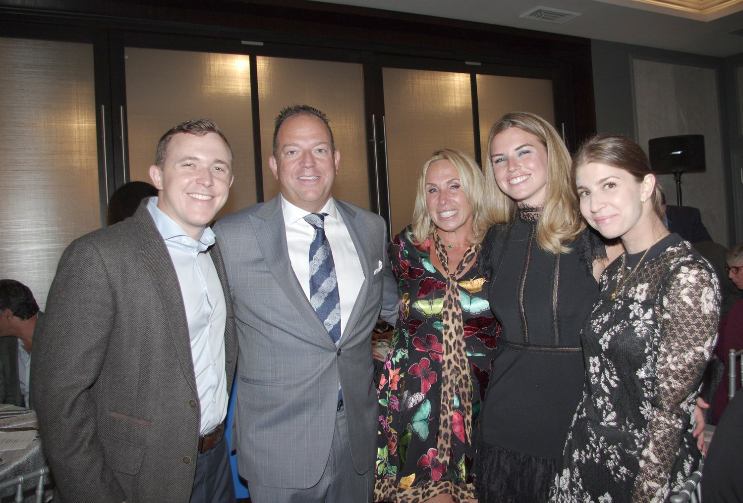 The United Jewish Appeal-Federation of New York honored nine people at its first-ever South Shore dinner, including, Dr Ron and Jackie Kaminer, who were with son Josh Kaminer, far left, daughter Erika Kaminer, second from right, and future daughter-in-law Cassie Scheiner.