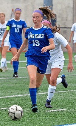Freshman Samantha Kolb ranks among Long Beach's leading offensive performers on the season and recorded a hat trick against Roslyn.