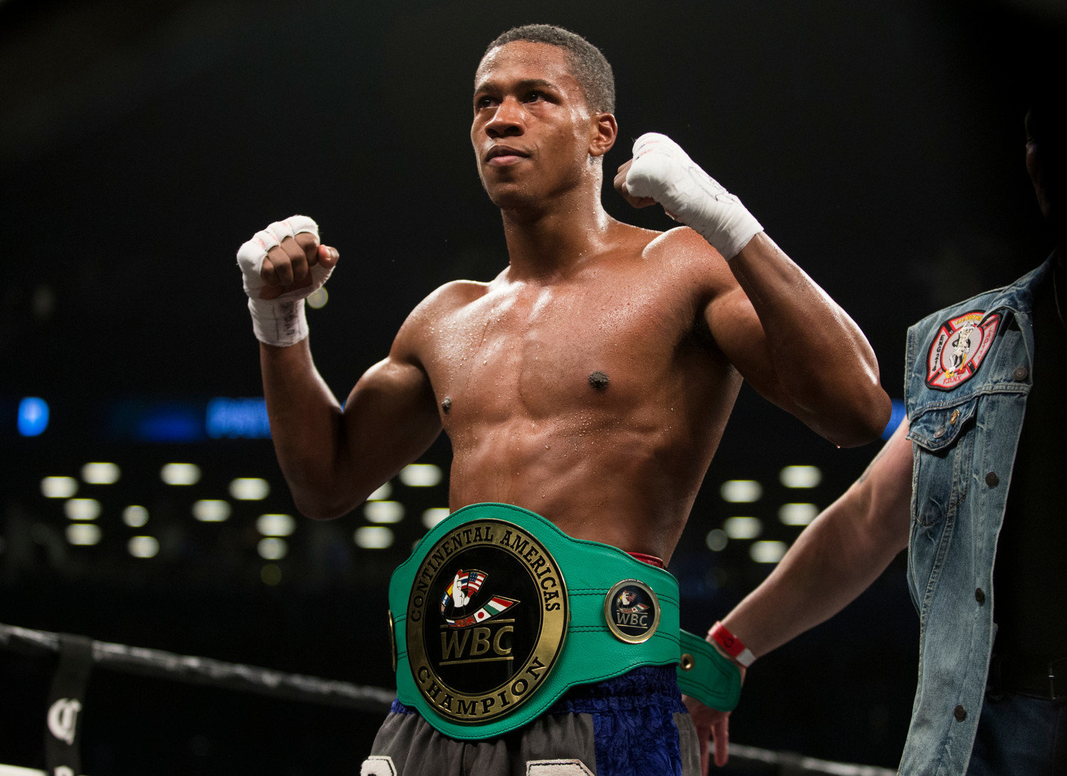 Boxer Patrick Day, in March 2018, after he successfully defended his WBC Continental Americas Super Welterweight title against Kyrone Davis, at the Barclays Center in Brooklyn before the Wilder vs. Ortiz fight.