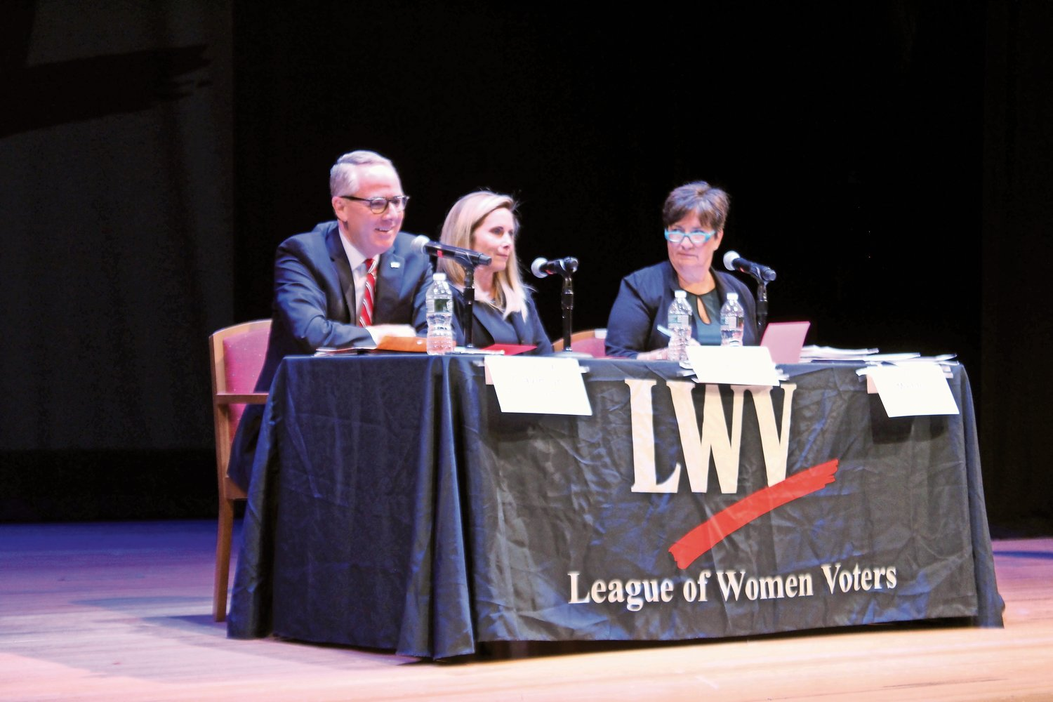 Donald Clavin, Laura Gillen and Diane Madden spoke about issues important to their campaigns for town supervisor at a public debate on Oct. 10.