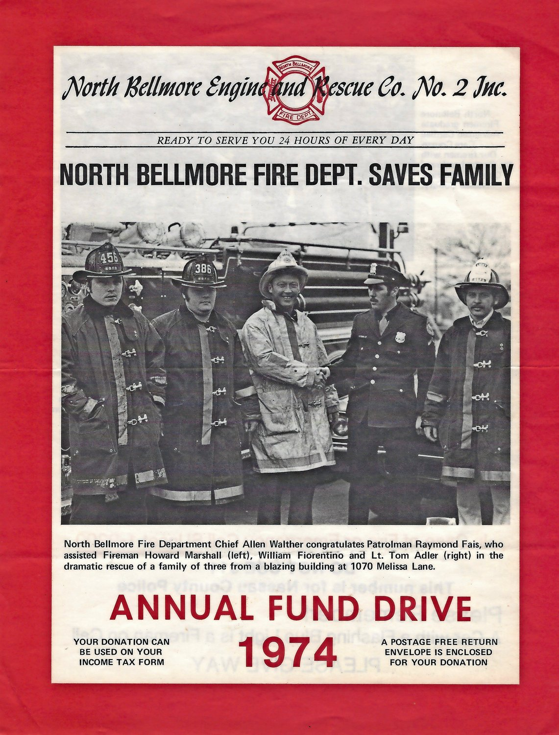 A newsletter from 1974 shows Walther, center, congratulating patrolman Raymond Fais, who helped firefighters Howard Marshall, far left, William Fiorentino and Tom Adler save a family from a fire.
