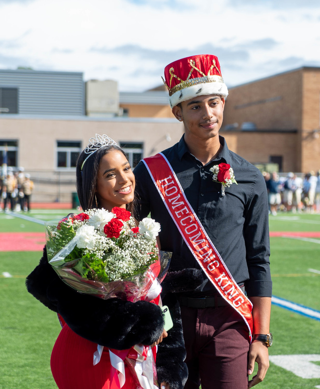 Senior class homecoming king Anthony Peralta, left and queen Gianna Mullings.